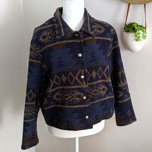 Vintage Southwest Aztec Blue & Gold Jacket Medium